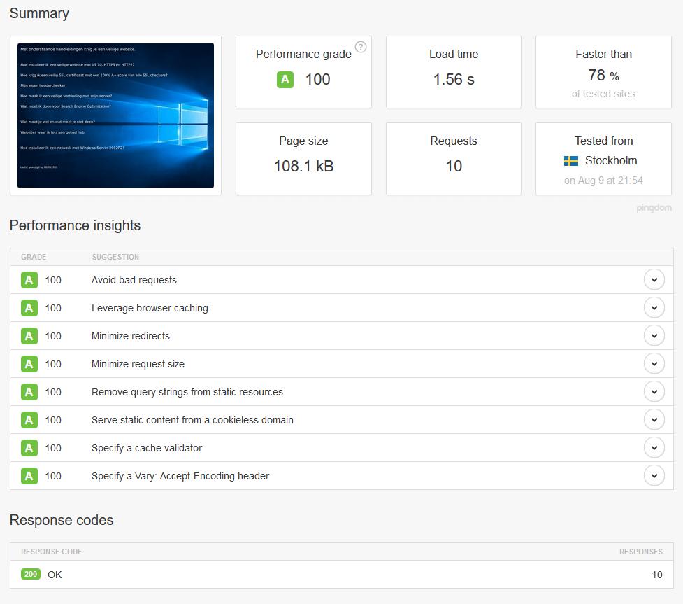 A 100 score van pingdom.com